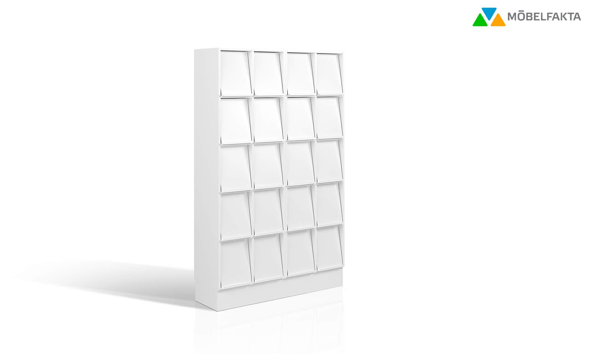 tidsskriftshylla tidningsställ exponeringshylla display shelf trece förvaring för tidningar väntrum exponeringsyta möbelfakta