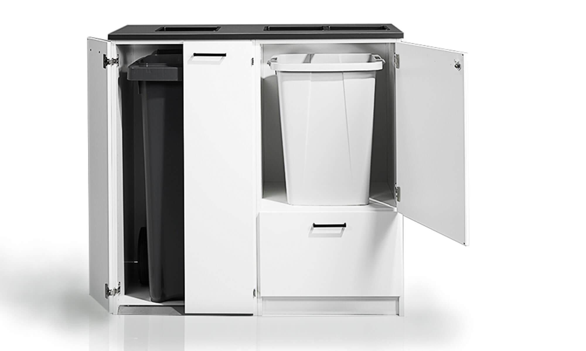 miljöstationer miljödiskar recycling källsortering waste bin station trece kontor office