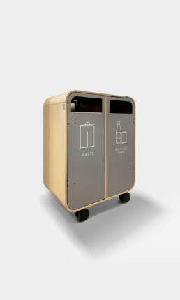 mobil flyttbar källsortering waste bin trece kontor